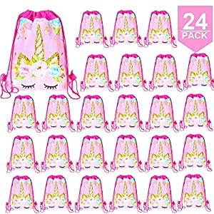 24 Pack Unicorn Drawstring Bag for Gift Bag, Unicorn Party Favor Bags, unicorn party bags for kids birthday Gift Bag Unicorn Party Supplies