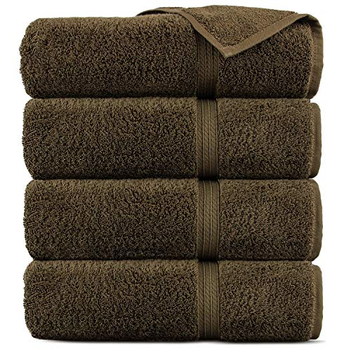 Premium Cotton 4-Piece Turkish Bath Towels, Cocoa