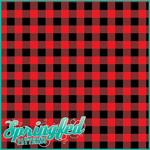 RED BUFFALO PLAID PATTERN Craft Vinyl 3 Sheets 12x12 for Vinyl Cutters Springfed Printing