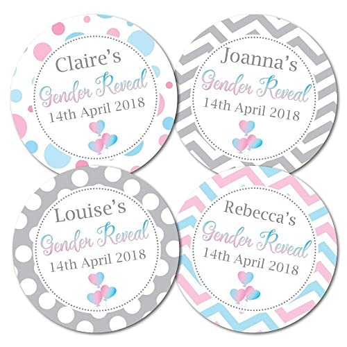 Personalised baby shower gender reveal stickers pink and blue themes stickers are