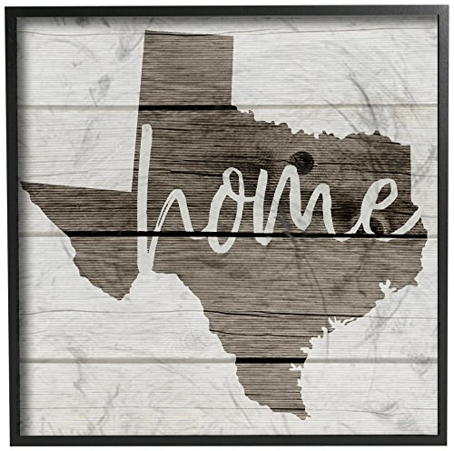 The Stupell Home Décor Collection Texas Home Typography Map Framed Giclee Texturized Art, 12 x 12 ()