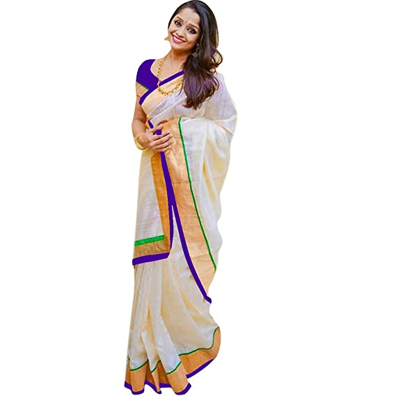 6ba0156e362af1 Pramukh Suppliers Chanderi Cotton Saree With Blouse Piece (Z P White Free  Size)  Amazon.in  Clothing   Accessories