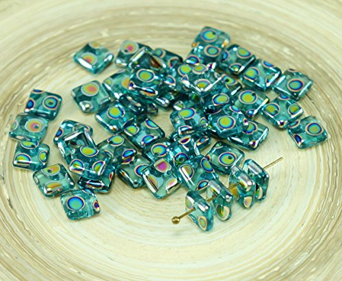 NEW SHAPE 30pcs Crystal Aqua Blue Dotted Peacock Vitrail Flat Square Paillettes Squarelet One Hole Chips Czech Glass Bead 6mm x 6mm