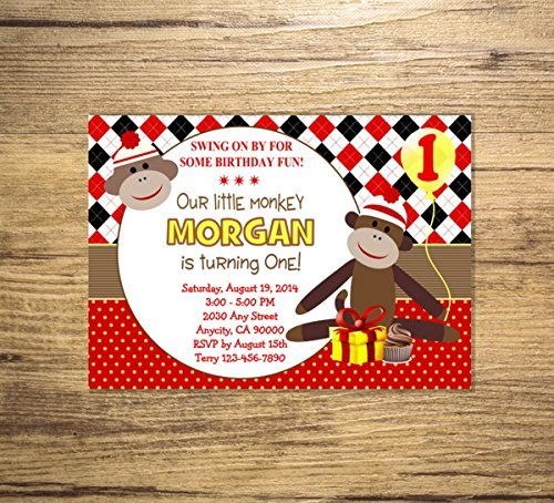 Custom Sock Monkey Birthday Party Invitations, Mod Monkey Invites