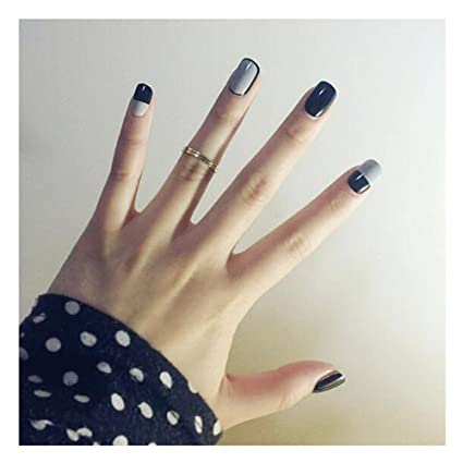 Amazon Dongcrystal 24pcsset Matte Gray False Nails Short Size