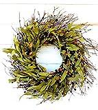 Fall Wreath, Halloween Wreath-Autumn Wreath-Front Door Wreath-Rustic Twig Wreath, Fall Door Wreath, Wreaths, Candy Corn Wreath, Autumn Home Decor, Holiday Home Decor, Bay Leaf Wreath, Halloween Decor