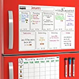 Dry Erase Calendar - Set - Magnetic Dry Erase Weekly Calendar for Refrigerator ( with Grocery To Do List ) and Week Magnetic Menu Board for Fridge - Magnetic Whiteboard Organizer Kit for Kitchen