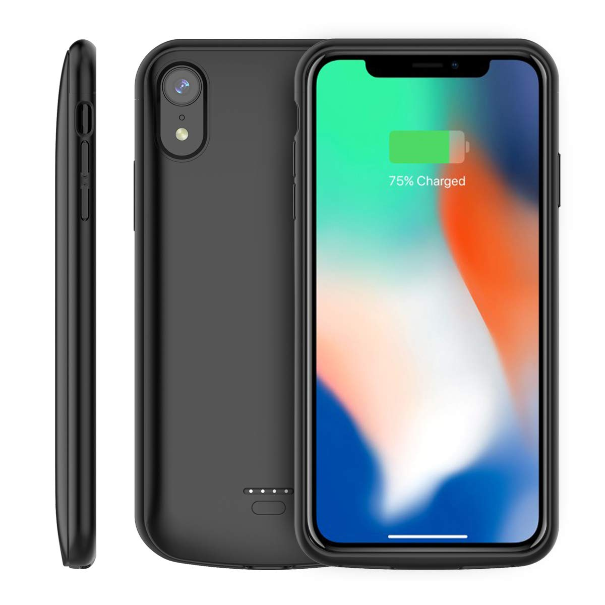 LifeePro Compatible iPhone Xr Battery Case, Slim 5000mAh Rechargeable Portable Battery Charger Pack External Power Bank Backup Charging Protective Case Replacement for iPhone Xr (2018) 6.1 inch Black