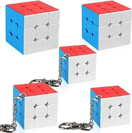 Rubicks Keyring Magic Cube 3x3x3 Puzzle Brain School Office Work Home Blocks IQ