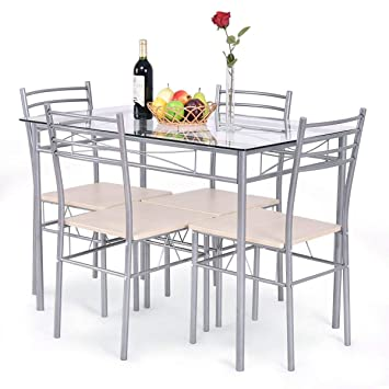 Amazon Com Giantex 5 Piece Dining Set Table And 4 Chairs Glass Top