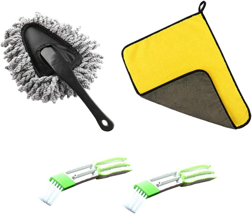 Leather Hantier 4 Pieces Car Duster Kit-Dusting Tool Mop Exterior Microfiber Cleaning Cloth and 2 Pcs Car Interior Detailing Brush for Cleaning Automotive Interior