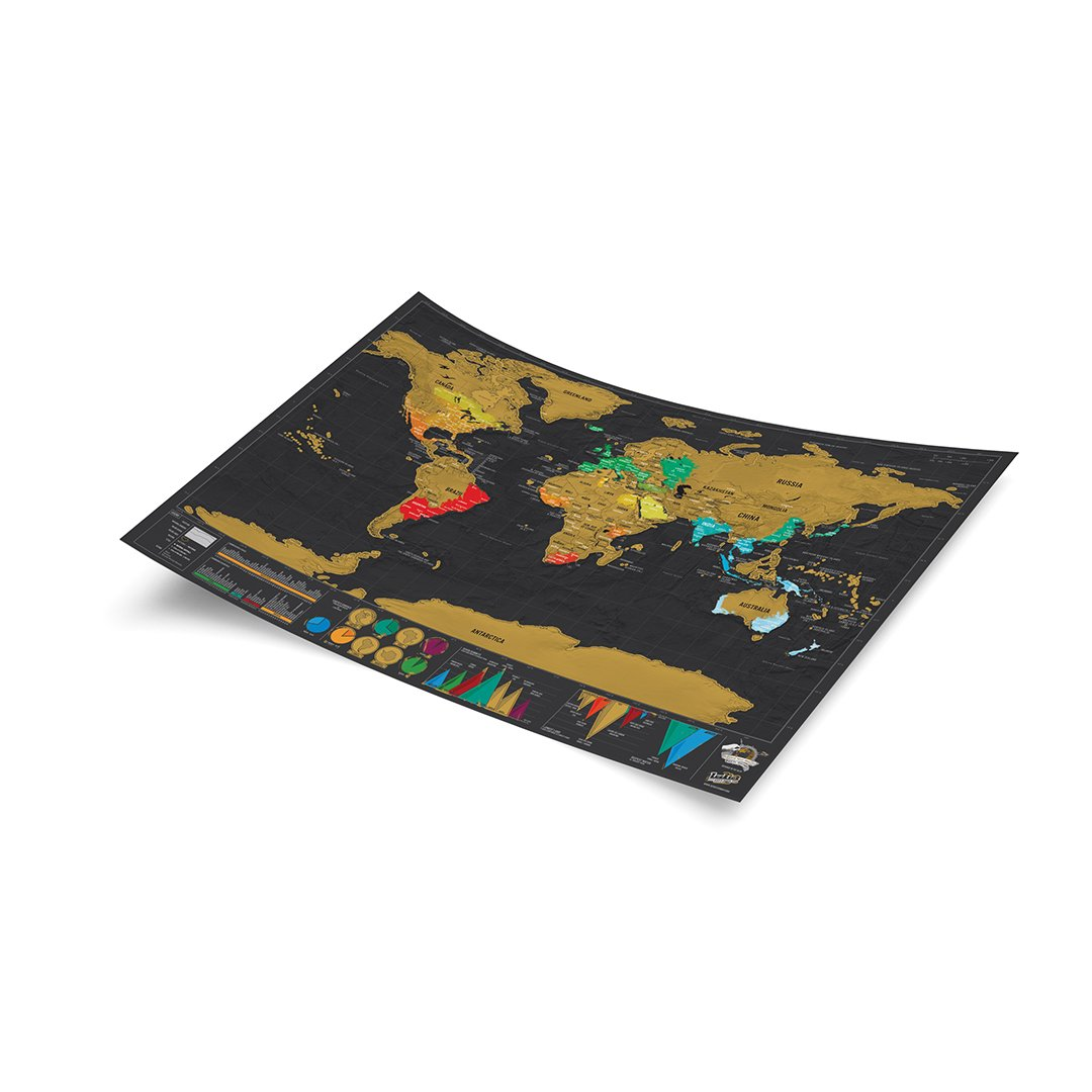 Fun /& Colorful Scratch Poster World Travel Map With Carrying Tube Deluxe Scratch Off Map Black /& Gold Luckies of London Ltd LUKSDT Small World Scratch Map