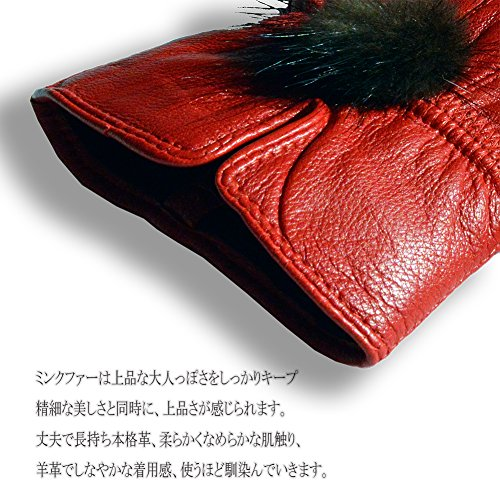 【First Pure】手袋 レディース かわいい レザー ファー 本革手袋 9色 TP-1501