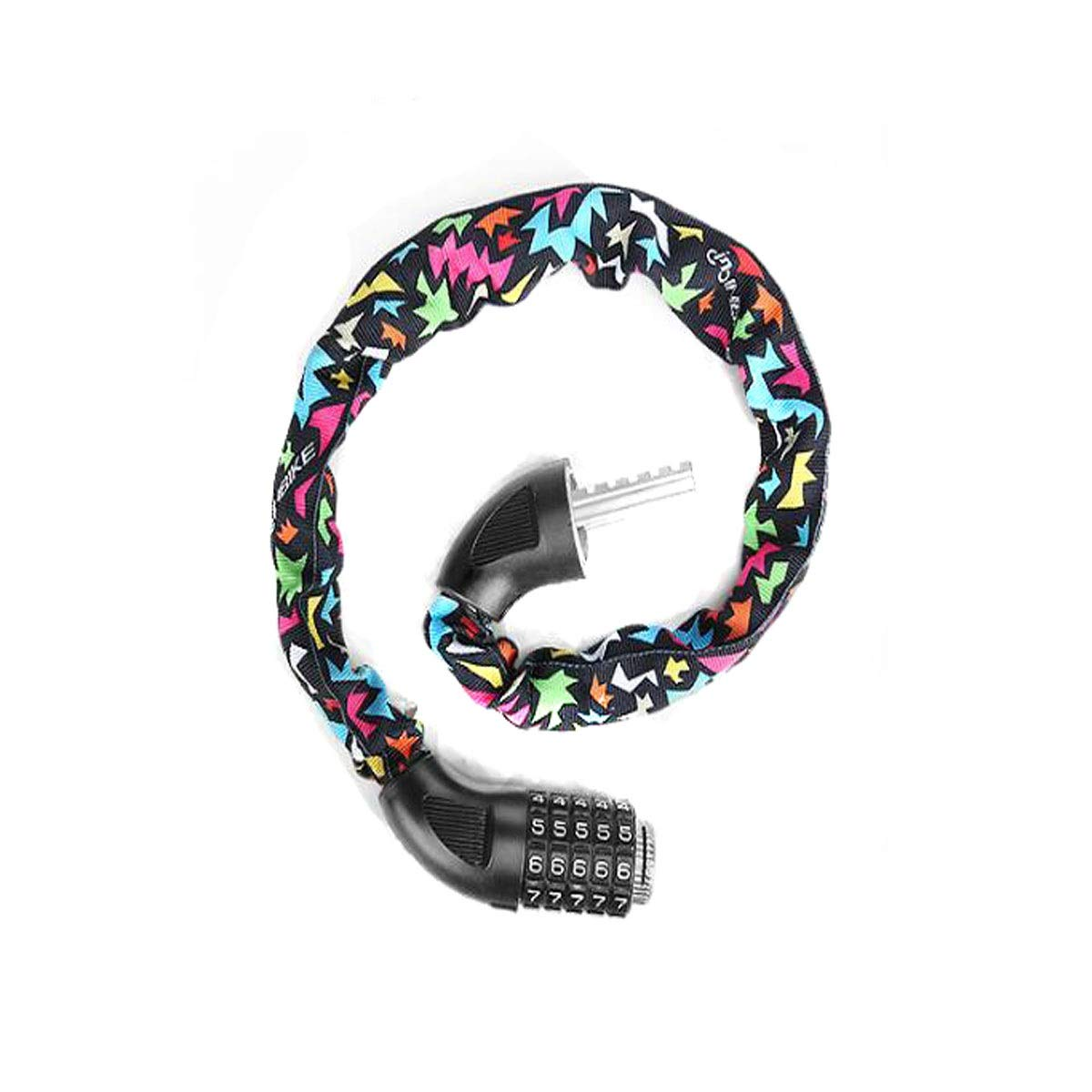 8haowenju Bicycle Chain Lock, Bicycle Safety Lock with 5-Digit Combination Lightweight Bicycle Lock, Size: 72 Inches (Length) 0.5 Inches (Diameter), Color: Multi-Colored