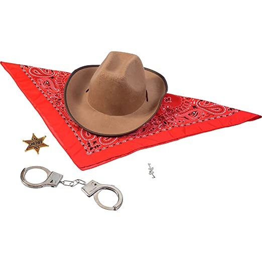 6a13a803f Funny Party Hats Sheriff Costume - Cowboy Hat With Cowboys accessories -  Western Sheriff Set