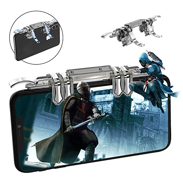 Newseego Mobile Game Controller, L1R1 Mobile Game 6 Fingers Trigger Sensitive Shoot and Aim Keys Buttons for Rules of Survival/Knives Out for Android & iOS (Transparent/6 Fingers) (Color: Transparent)