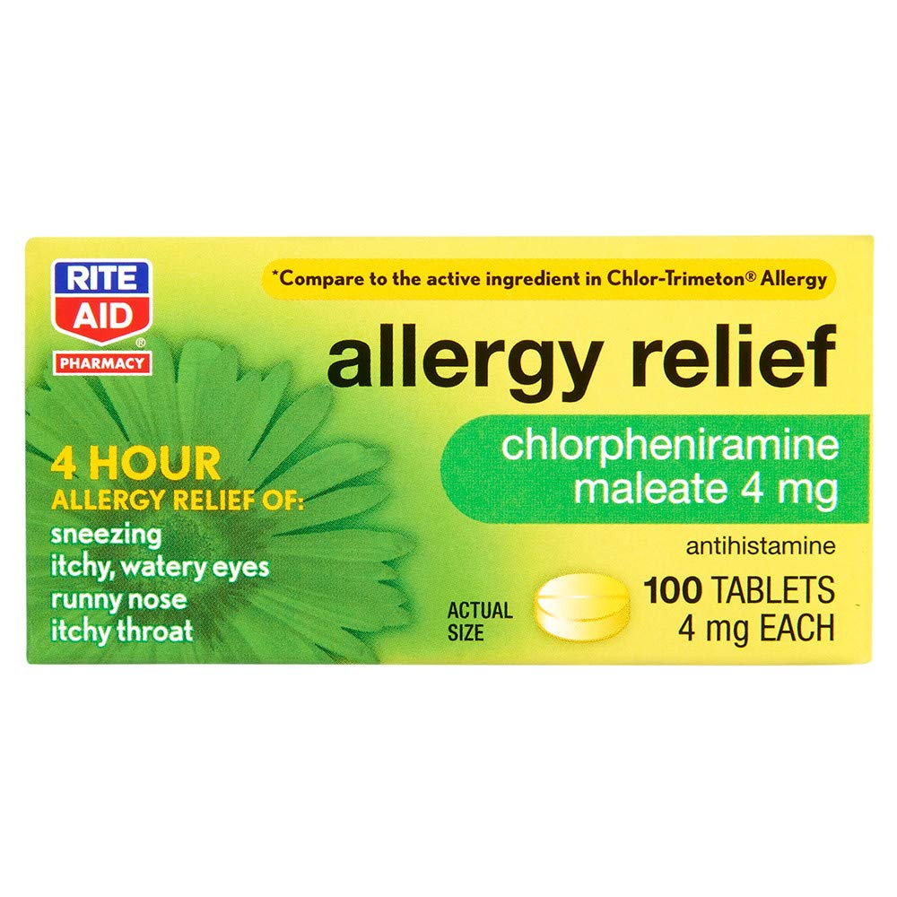 Rite Aid Allergy Medicine, Chlorpheniramine Maleate 4mg - 100 Count Tablets | 4 Hour Allergy Relief | Antihistamine Allergy Medication | Allergy Medicine for Adults | Non Drowsy Allergy Medicine