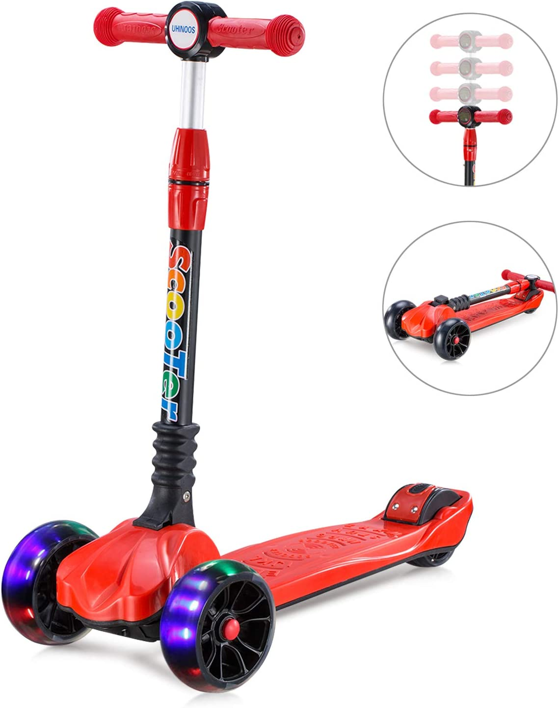 UHINOOS Kick Scooter for Kids Toddlers-4 Adjustable Height 3 Wheel Scooters for Kids-Flashing Wheels Foldable Kids Scooter Best Gifts for Children from 3-12 Years
