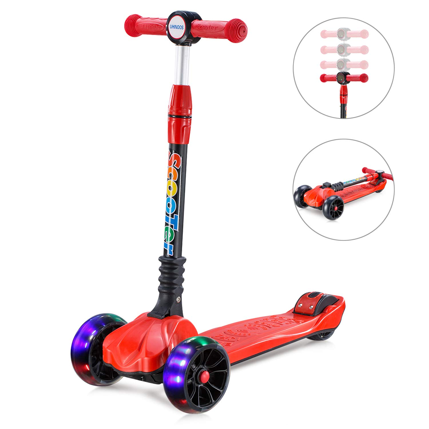 UHINOOS Kick Scooter for Kids&Toddlers-4 Adjustable Height 3 Wheel Scooters for Kids Scooter Best Gifts for Children from 3-12 Years (red) by UHINOOS