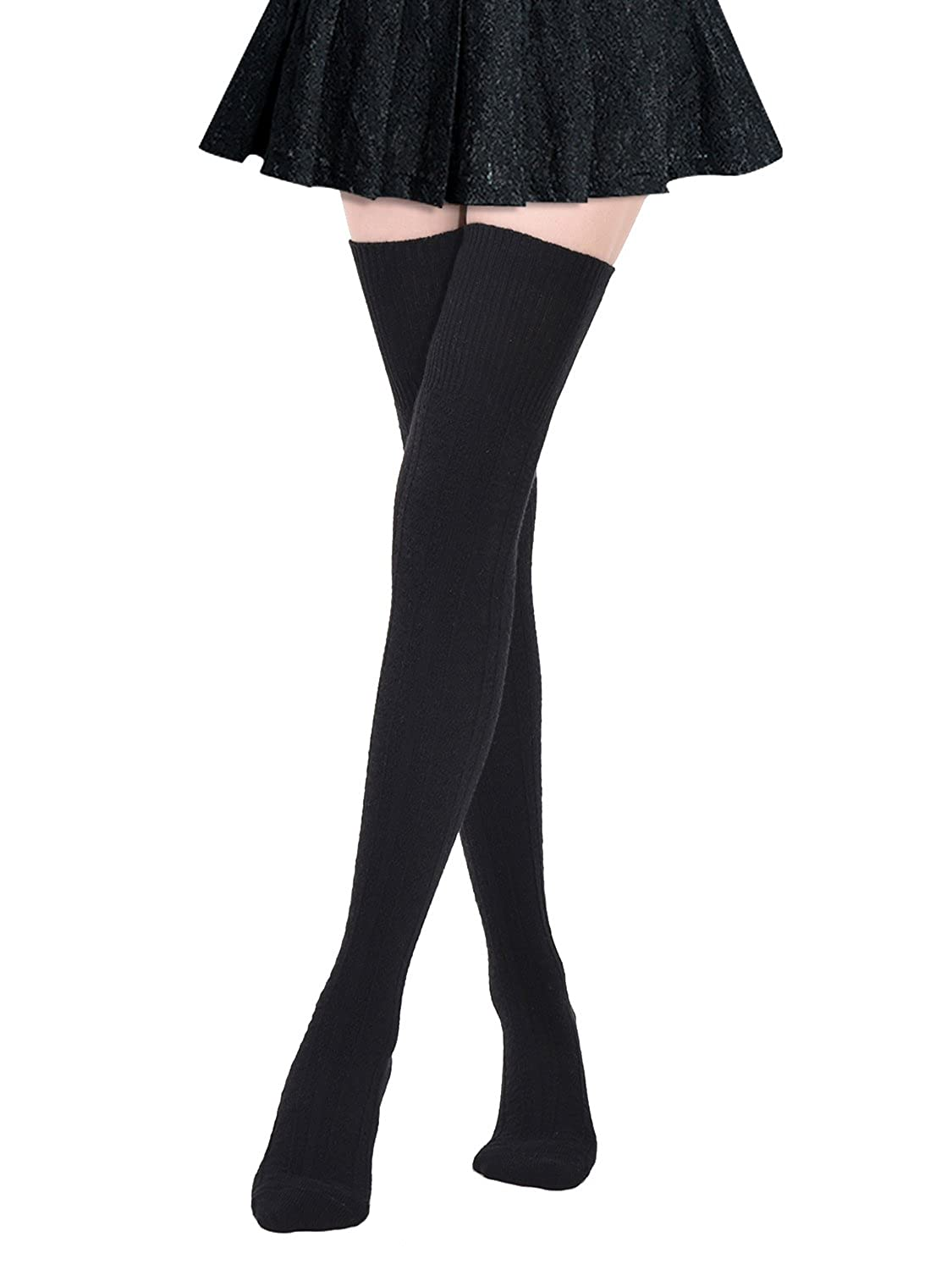 c4bf622f6da Kayhoma Extra Long Cotton Thigh High Socks Over the Knee High Boot  Stockings Cotton Leg Warmers at Amazon Women s Clothing store
