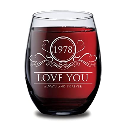 Amazon.com | 1978 Love You Always and Forever Wine Glass - 40th ...