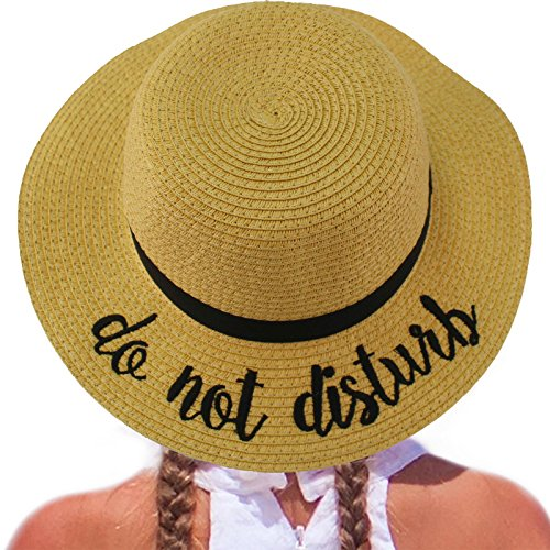 C.C Girls Kids Wording Sayings Summer Beach Pool Floppy Dress Sun Adjustable Hat Natural (do not Disturb)