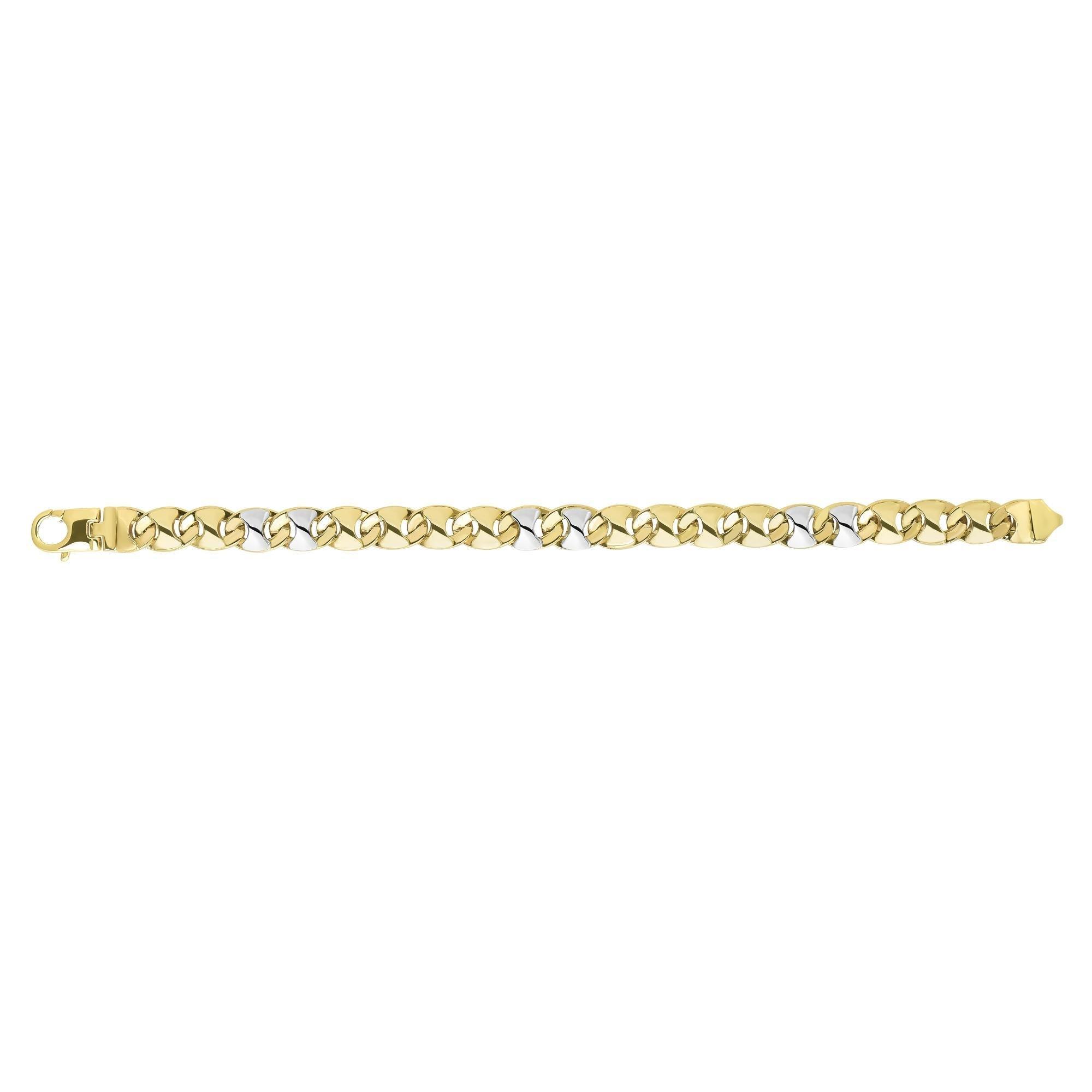 14k Yellow Gold 8.5 Inch Polish Finish Marquise Shaped Mariner Bracelet