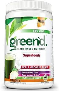 Complete Nutrition Green'd Superfoods Powder, Apple Coconut Blast, 100% Vegan, Immune System Support, Natural Detox, 30 Servings, 10.8oz Tub