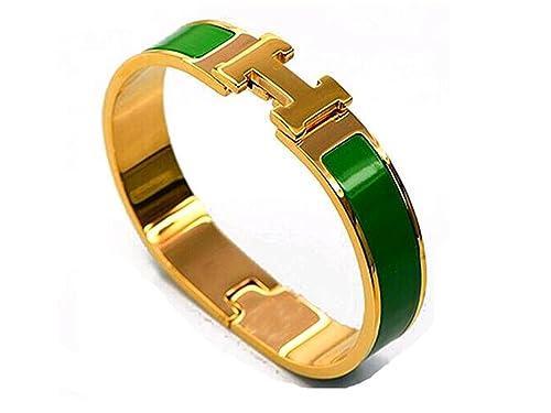 4369520c948f Buckle Bangle Bracelet 12MM Color Gold Dark Green