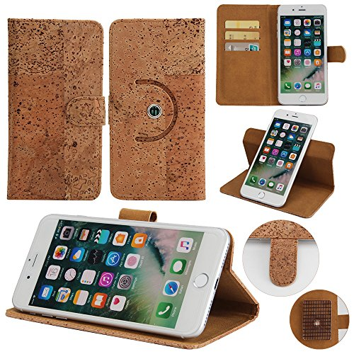 360° Funda Smartphone Caso de corcho cubierta del tirón para Apple iPhone 8 Plus, marrón. cáscara protectora caja case cover - K-S-Trade (TM)