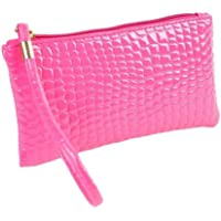 Start_wuvi Woman Fashion Pure Color Crocodile Pattern Leather Handbag Zipper Clutch Coin Bag Style Classic And Noble Most Popular Best Gift (Hot Pink)