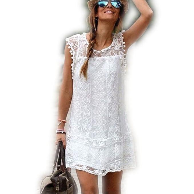 STRIR Vestido de Mujeres Casual Borla del cordón Sin Playa Mini vestido (S)