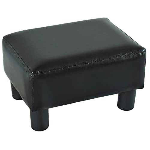 HomCom Modern 15 Rectangular Faux Leather Ottoman Footrest – Bright Black