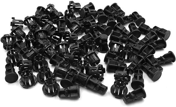 X AUTOHAUX 40pcs 6mm Hole Dia Plastic Bolt Rivets Fasteners Fender Bumper Retainer Clips Black for Car