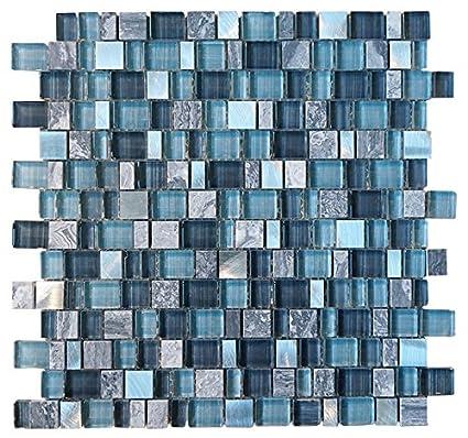 Glossy Blue And Blue Stone Random Brick Cubes Pattern Glass Mosaic Inspiration Random Tile Pattern