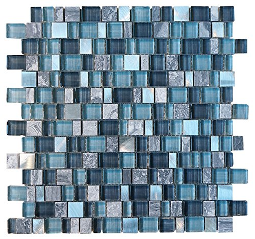 Random Brick Pattern (Glossy Blue and Blue Stone Random Brick Cubes Pattern Glass Mosaic Tiles for Bathroom and Kitchen Walls Kitchen Backsplashes)