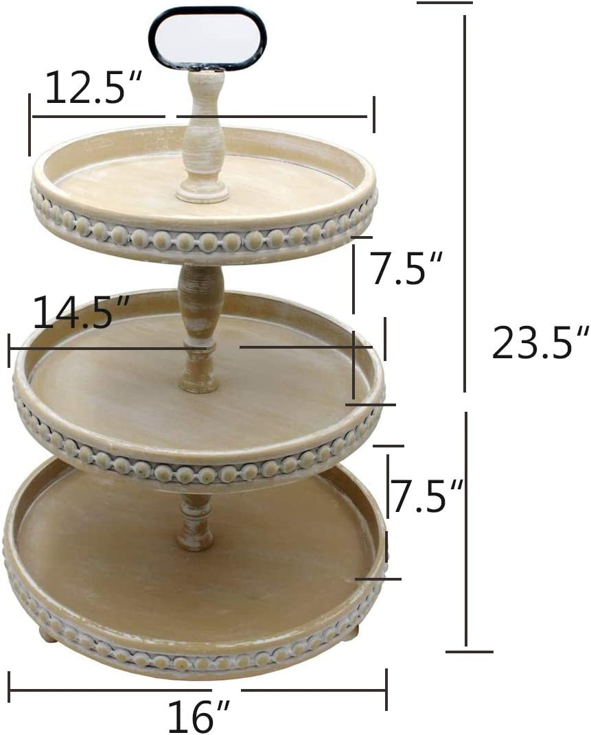 3-Tier Funly mee Rustic Wood and Metal Three Tier Farmhouse Tray with Decorative Bead