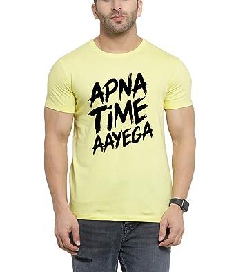 173c735a Scott Men's Biowash Apna Time Aayega Printed Round Neck T-Shirt - Yellow -  SS19_PBSH