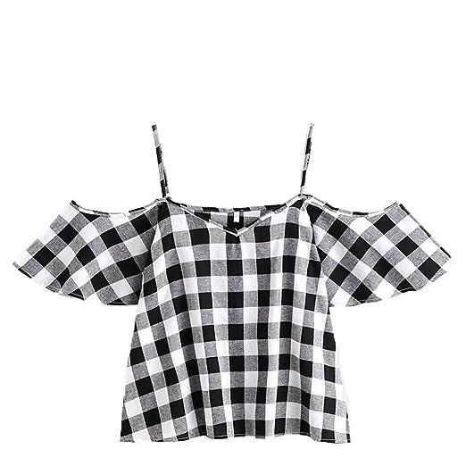 Kangma Tees&Blouse&Sweatshirt Kangma Women Summer Pinstripe Cold Shoulder Sleeveless Crop Cami Tank Top Shirt Gray