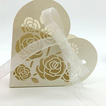 Anself 20pcs DIY Mini cajas de caramelo cajitas de bombones románticas con la cinta blanca tallado