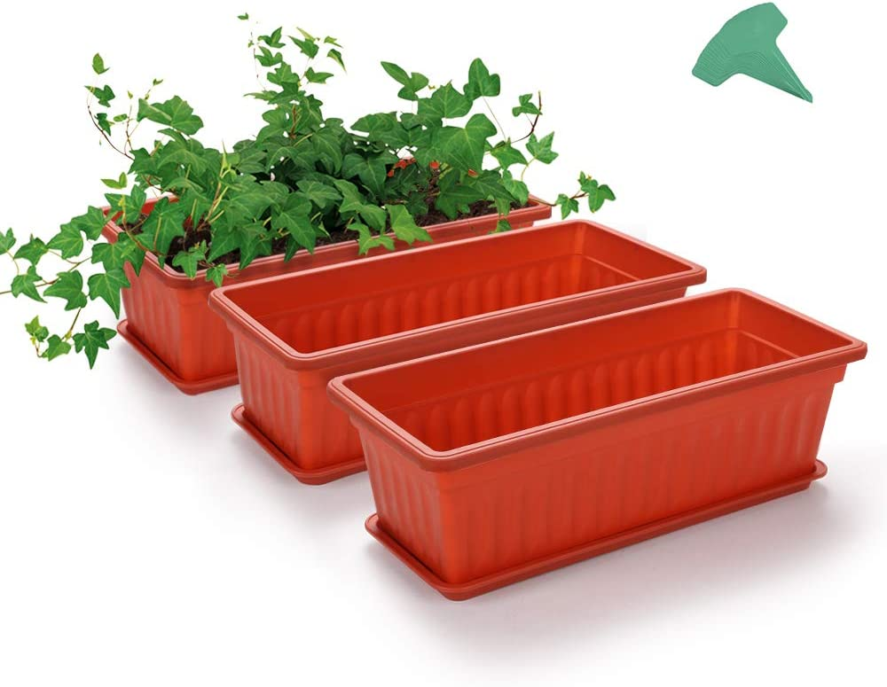 GROWNEER 3 Packs 17 Inches Terracotta Color Flower Window Box Plastic Vegetable Planters with 15 Pcs Plant Labels, for Windowsill, Patio, Garden, Home Décor, Porch