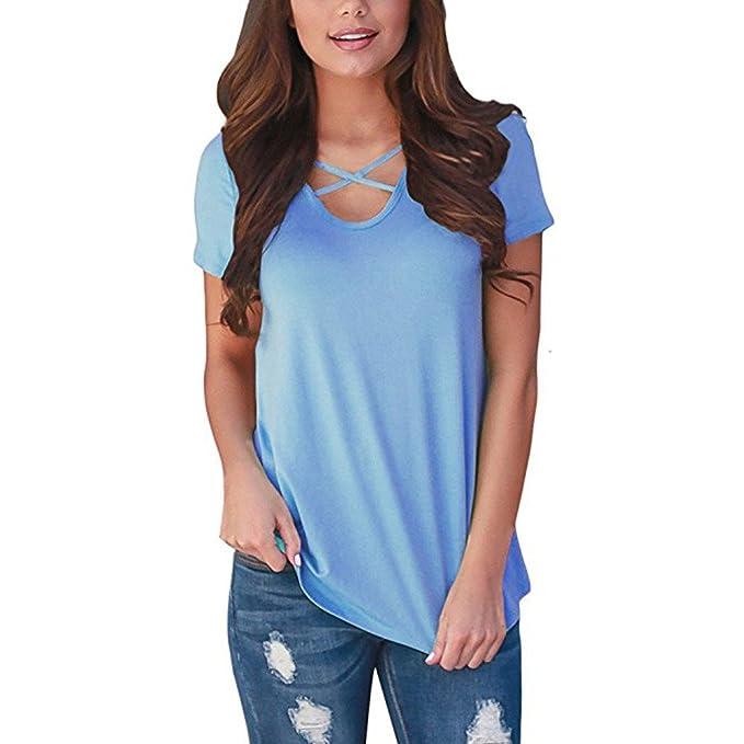 Camisas Mujer Casual, BBestseller Mujer Cuello Redondo Elegantes Camisetas Personalizadas con Manga Corta T Shirt Tops: Amazon.es: Ropa y accesorios