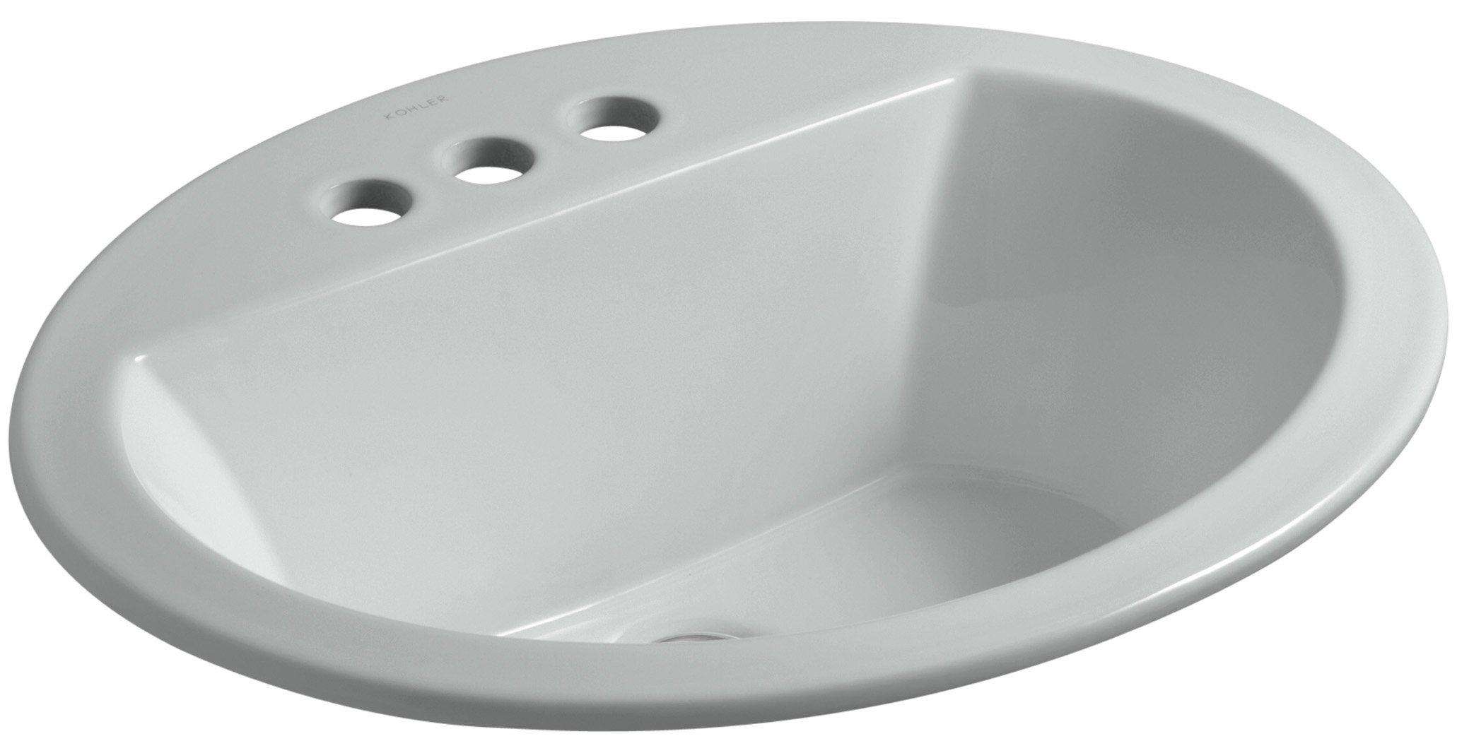 KOHLER K-2699-4-95 Bryant Oval Self-Rimming Bathroom Sink with 4'' Centers, Ice Grey