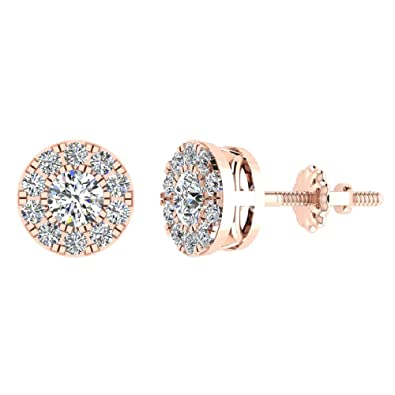 a66f2c84dabb3 Amazon.com: Halo Cluster Diamond Earrings 0.77 ctw 14K Rose Gold ...