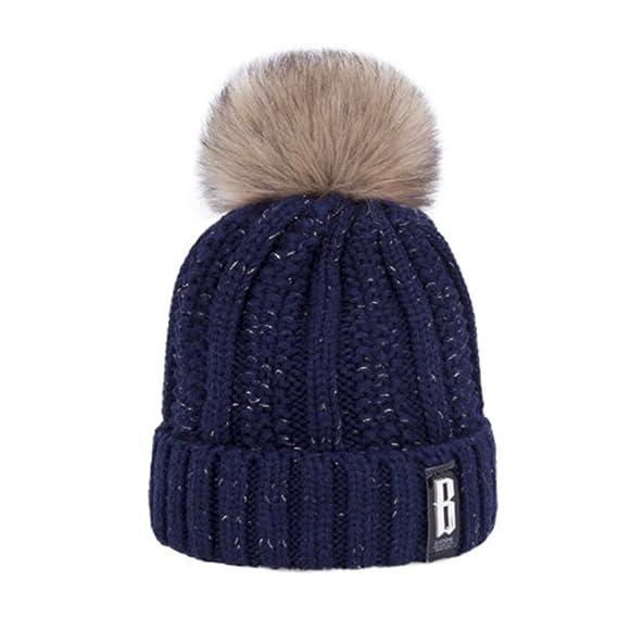 6124d1d78b4 LQZ Women Lady Fashion Winter Warm Wool Knitting Hat Cap (Indigo ...