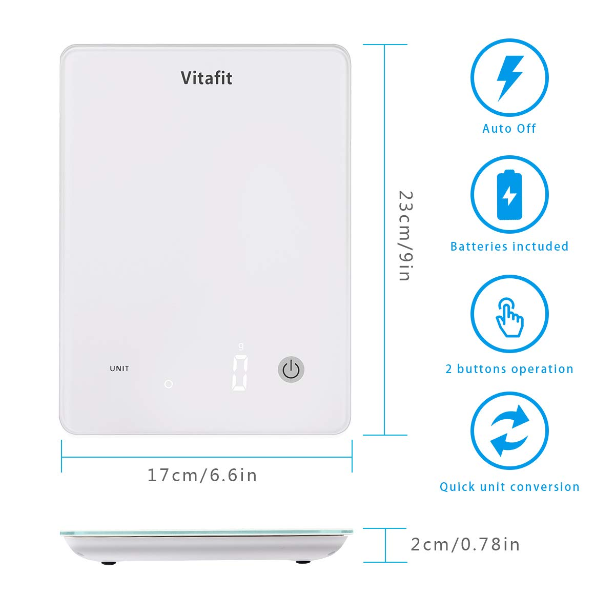 Vitafit 22lbs/10kg Digital Kitchen Scale, Multifunction Food Scale with LED Screen Display,Tempered glass platform,Batteries Included