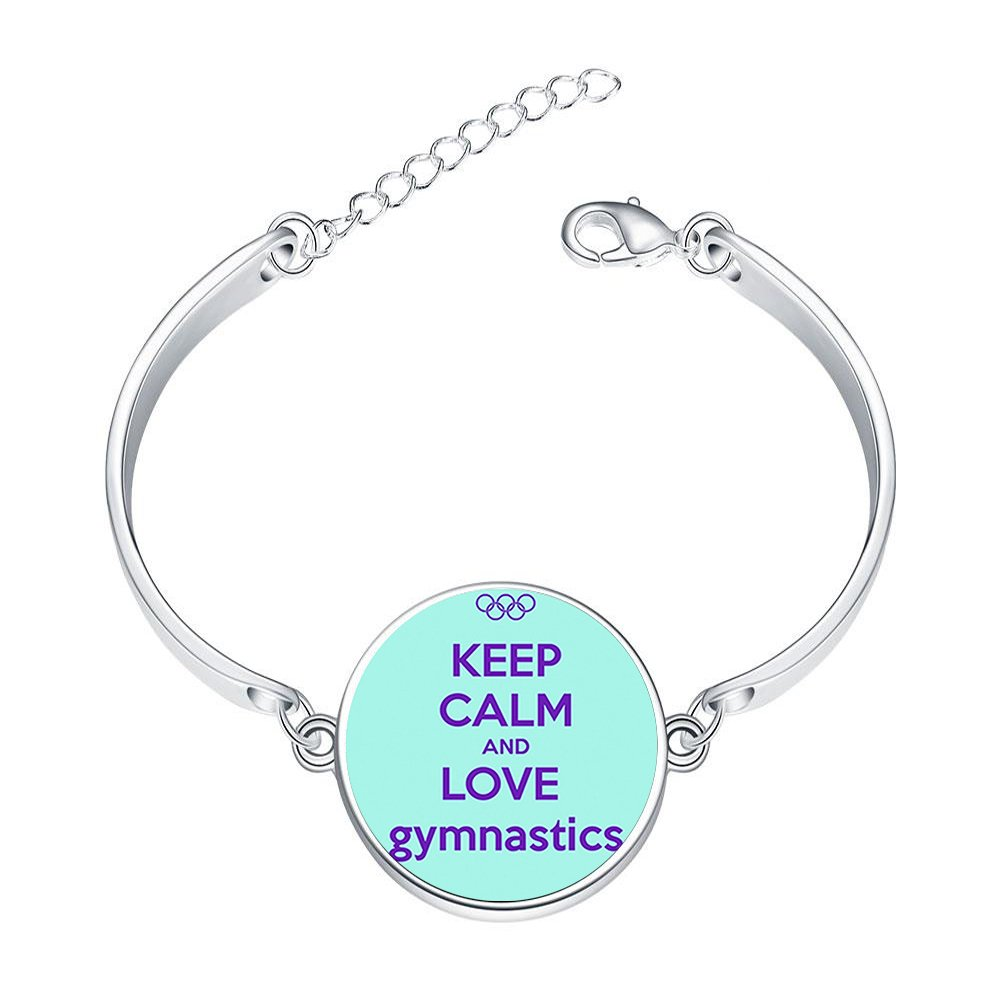 DOME-SPACE Adjustable Silver Bracelets Keep Calm and Love Gymnastics Quote Hand Chain Link Bracelet Clear Bangle Custom Glass Cabochon Charm