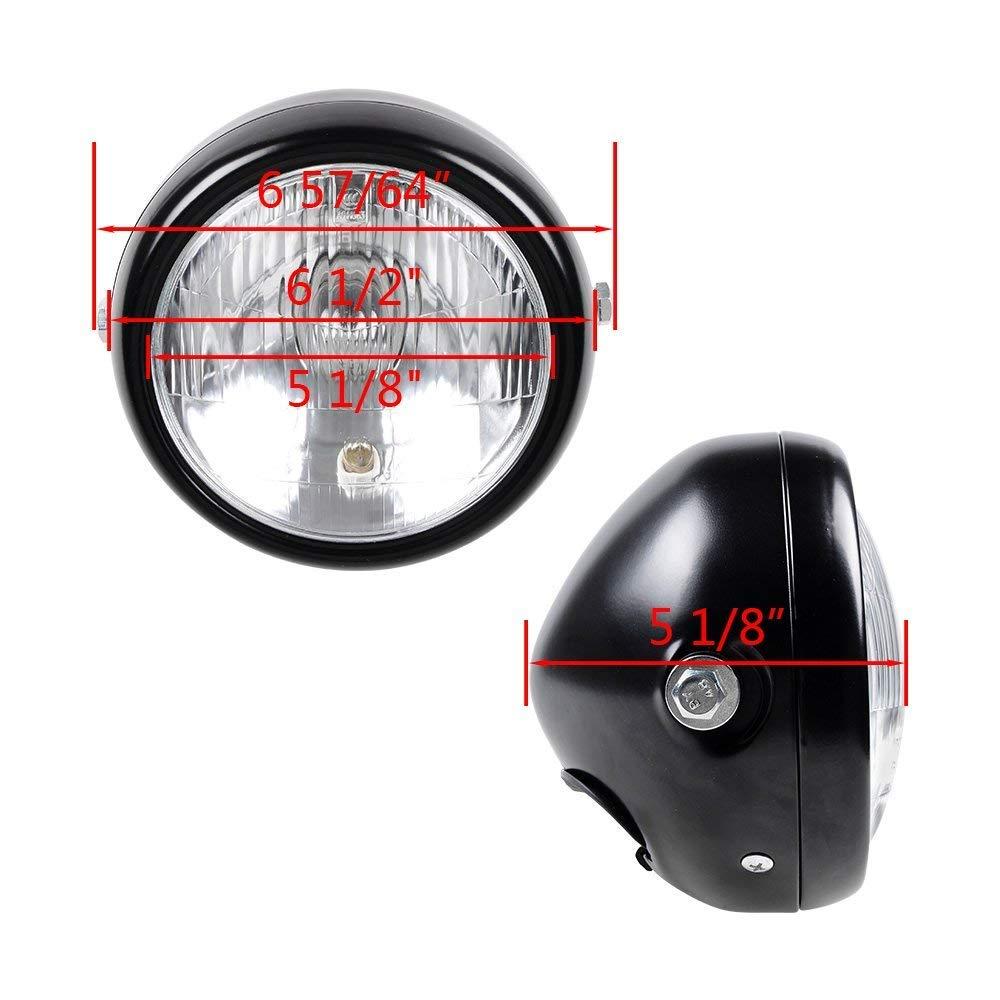 wastuo 6/1//2/MOTO Retro negro lente clara faro para Harley Bobber Cafe Racer Cruiser Vintage Style