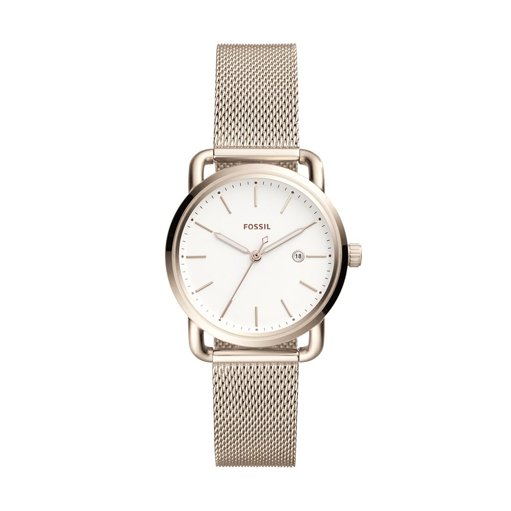Fossil Women's 'The Commuter' Quartz Stainless Steel Casual Watch, Color:Pink (Model: ES4349)
