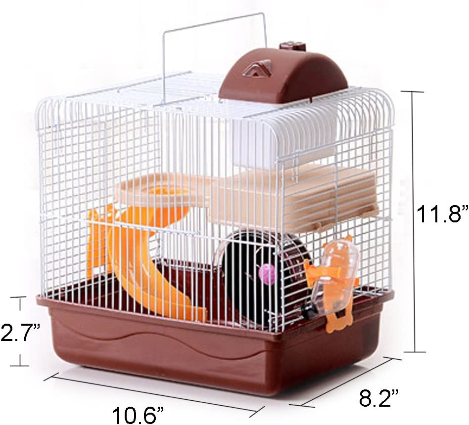 2-Tier Portable Travel Cage for Small Animals, Hamster Travel Carrier with Carry Handle Exercise Wheel Water Bottle and Food Dish, 10.6 x 8.2 x 11.8 Inch Brown